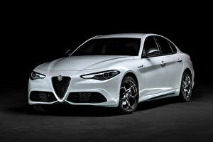 Картинки Alfa Romeo Белые Металлик Giulia Veloce Ti Q4 (952), 2019 -- Автомобили