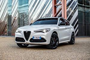 Sfondi desktop Alfa Romeo CUV Bianco Metallizzato Stelvio Veloce Ti (949), 2020 autovettura