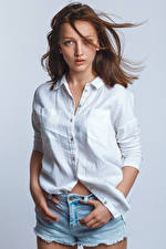Images Brown haired Model Posing Shorts Formal shirt Staring Anna Girls