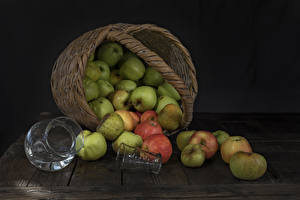 Image Apples Boards Wicker basket Jug container Highball glass