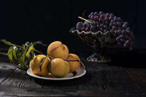 Pictures Apricot Grapes Boards Plate Branches Food
