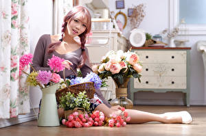 Images Asian Bouquet Rose Vase Sitting Plait Staring young woman Flowers