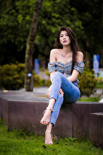 Picture Asian Sit Jeans Blouse Staring young woman
