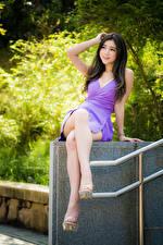 Tapety na pulpit Azjatycka Uśmiech Sukienka Nogi Siedzi dziewczyna