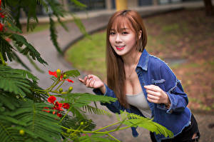 Bilder Asiaten Lächeln Hand Starren Mädchens