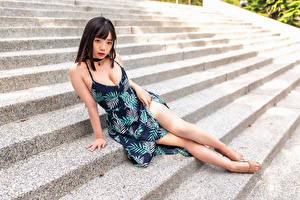 Pictures Asiatic Stairway Sitting Gown Decollete Staring Girls