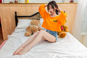 Image Asian Teddy bear Sitting Bed Legs T-shirt Glance Girls