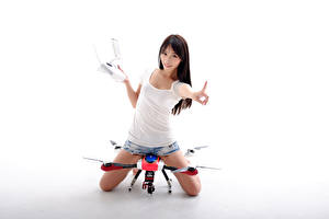 Image Asiatic UAV Quadcopter Shorts Singlet Glance White background Girls Aviation