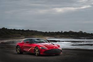 Bakgrunnsbilder Aston Martin Rød Kupé 2020 V12 Twin-Turbo DBS GT Zagato Biler