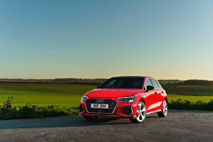 Bakgrunnsbilder Audi Rød Metallisk A3 Sportback 40 TFSI e S line UK-spec bil