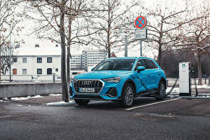 Pictures Audi Light Blue Metallic Hybrid vehicle Crossover Q3 45 TFSI e S line, 2020 automobile
