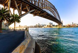 Bakgrundsbilder på skrivbordet Australien Bro Sydney En bukt Gatubelysning Sydney Harbour Bridge