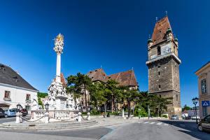Images Austria Clock Sculptures Building Tower Street Perchtoldsdorf