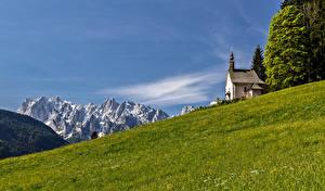 Wallpaper Austria Mountain Church Grasslands Alps Nature