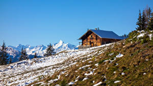 Pictures Austria Mountains Houses Alps Snow  Nature