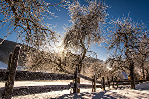 Desktop wallpapers Austria Winter Snow Trees Fence Sun Mittertal Nature
