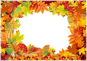 Pictures Autumn Berry Leaf Acorn Template greeting card