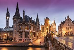 Bakgrundsbilder på skrivbordet Belgien Gent Kväll Hus Gatubelysning Gate Städer
