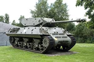 Pictures Belgium Tanks Monuments Grass Bastogne, M10 Wolverine