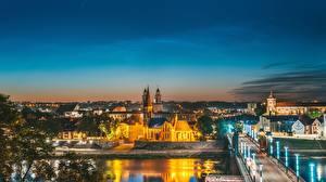Image Bridge Houses Lithuania Kaunas Night Senamiestis Cities