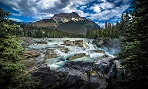 Wallpapers Canada Park Mountain Rivers Stones Scenery Clouds Jasper Park Alberta Nature
