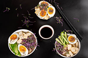 Picture Cheese Vegetables Porridge Gray background Breakfast Three 3 Eggs Soy sauce Food