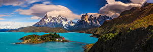 Pictures Chile Mountain Landscape photography Lake Panorama Clouds Patagonia Nature