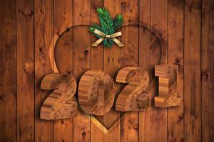 Papel de Parede Desktop Ano-Novo 2021 Galho Laço Tábuas de madeira Coração