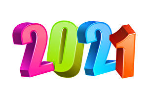 Tapety na pulpit Nowy Rok 2021 Kolorowe Na białym tle