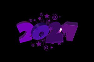 Pictures New year 2021 Star decoration Black background