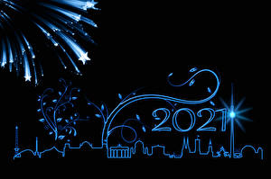 Image New year Berlin Fireworks Silhouettes Star decoration Black background 2021