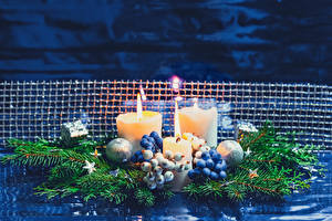 Pictures Christmas Candles Berry Branches Balls