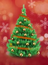 Photo Christmas New Year tree Balls Snowflakes