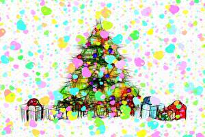 Image Christmas New Year tree Present Box