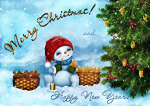 Image Christmas Christmas tree Snowman Wicker basket Word - Lettering English Snow
