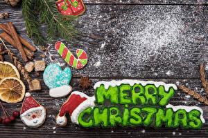 デスクトップの壁紙、、新年、クッキー、シナモン、粉砂糖、木の板、英語、単語、デザイン、手袋、ジェド・マロース、暖かい帽子、
