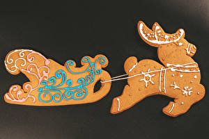 桌面壁纸,,新年,曲奇饼,鹿,设计,雪橇,食物