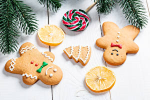 Photo Christmas Cookies Lemons Lollipop Boards Branches Design New Year tree Food