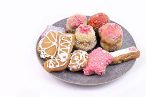 Desktop hintergrundbilder Neujahr Kekse Weißer hintergrund Design das Essen