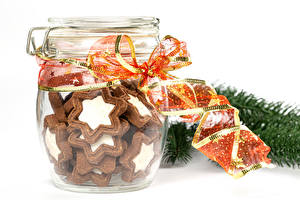 Wallpaper Christmas Cookies White background Jar Ribbon Food