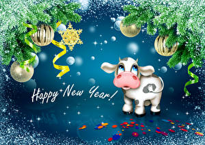 Image New year Cow Branches Balls Ribbon Snow Text English