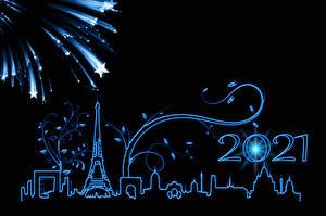 Fonds d'écran Nouvel An Feu d'artifice Paris Tour Eiffel Silhouette Etoile de décoration Fond noir 2021 Villes images