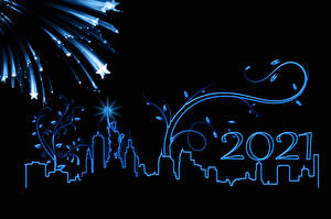 Photo New year Fireworks Towers New York City Black background Silhouette Star decoration