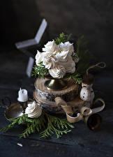 Hintergrundbilder Neujahr Törtchen Kerzen Bretter Schneemänner Ast Lebensmittel