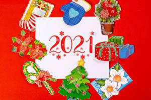 Wallpaper New year Lollipop Red background 2021 Mittens Present Christmas tree Socks