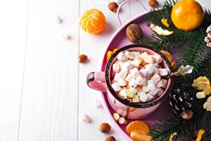 Desktop wallpapers New year Mandarine Marshmallow Mug Food