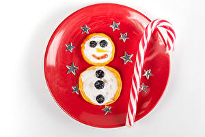 Images New year Pancake Lollipop White background Plate Snowman Little stars Food