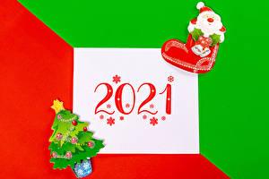 Papel de Parede Desktop Ano-Novo Folha de papel 2021 Floco de neve Árvore de Natal Botas Papai Noel