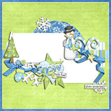 Bilder Neujahr Schneemänner Schneeflocken Wort Englisches Fausthandschuhe Vorlage Grußkarte