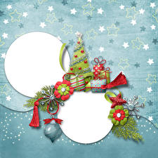 Image Christmas Star decoration New Year tree Gifts Template greeting card